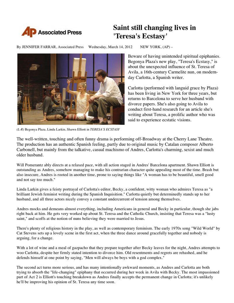 AP review of Teresa's Ecstasy 3:14:12